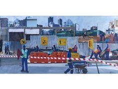 Jabulane Sam Nhlengethwa - Johannesburg Construction Workers, South African Artists, Construction Worker, Auction, Painting, Painting Art, Paintings, Painted Canvas, Drawings