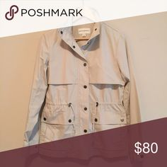 lightweight utility jacket lightweight • snap closure • two fold over snap pockets with additional side slit pockets on top • waist defining drawstring • two snaps on cuff • 100% cotton • worn a few times • excellent condition • no trades Banana Republic Jackets & Coats