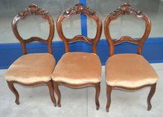 Sedie decoupage ~ Tre sedie in noce velluto luigi filippo schienale scolpito