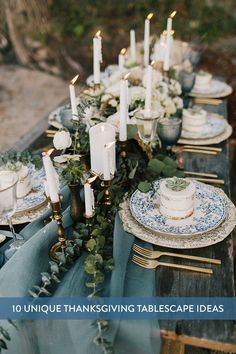 Romantic Blue Wedding Table Setting Inspiration - Candles, greenery, boho chic w. Romantic Blue Wedding Table Setting Inspiration - Candles, greenery, boho chic wedding table decor with gold details Seaside Wedding, Blue Wedding, Wedding Flowers, Beach Weddings, Fall Wedding, Chic Wedding, Trendy Wedding, Rustic Wedding, Romantic Weddings