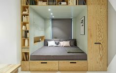 coole zimmer ideen für jugendliche und kreative jugendzimmer einrichtung mit eingebautem bett und schränken - fresHouse