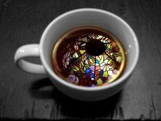Coffee stained glass window