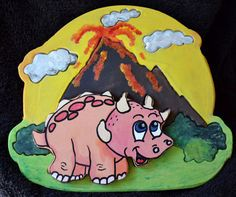 3D Dinosaur Puzzle with Volcano  on Etsy, $20.00