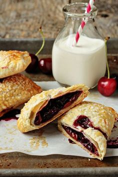 Cherry Hand Pies.  Flaky puff pastry and fresh cherries create the perfect hand pies – plates and forks are not required.