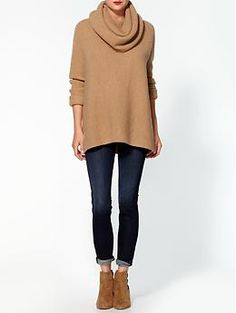 I would wear this every day in the winter! Vince Cowl Horizontal Rib Sweater | Piperlime
