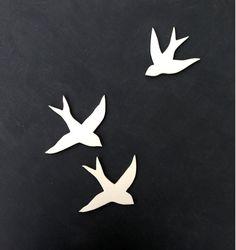Wall art Birds Set of three porcelain swallows Modern silhouette ceramic wall sculpture installation