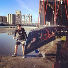 The #AC72 will be squeaky clean with sailor @KinleyFowler on the job! #oracleteamusa #hull #sailor #cleaning #pier80 #soap #sanfrancisco #monday