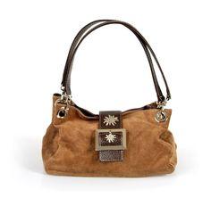 Wildleder Trachten Handtasche mit Edelweiß Hellbraun - Sehr schöne Tasche zu Dirndl und Lederhose
