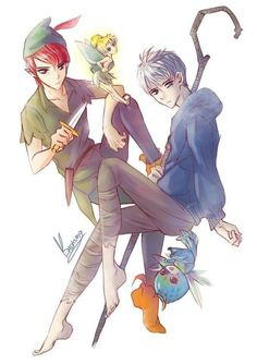 Peter Pan, Tinker Bell, Jack Frost and Baby Tooth Jack Frost Movie, Jack Frost Anime, Dark Jack Frost, Jack Frost Costume, Jack Frost Cosplay, Jack Y Elsa, Jack Frost And Elsa, Jack Frost Drawing, Dark Disney Art