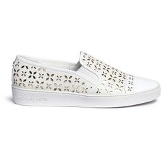 Michael Kors 'Susanna' lasercut perforated leather slip-on sneakers ($125) ❤ liked on Polyvore featuring shoes, sneakers, white, white sneakers, slip-on sneakers, leather sneakers, michael kors sneakers and summer sneakers