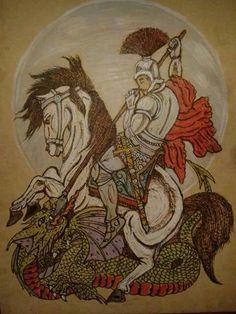 São Jorge pirografado e pintado com lápis de cor Fabercasttel