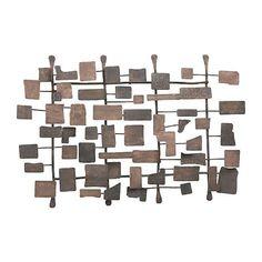 Retro modern metal sculpture art abstract mid century contemporary