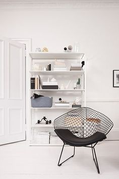 Ikea fjalkinge interior of room with bookcase and black chair