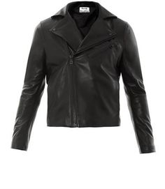 $1,496, Black Leather Biker Jacket: Acne Studios Gibson Biker Jacket. Sold by MATCHESFASHION.COM. Click for more info: http://lookastic.com/men/shop_items/16382/redirect