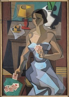 The Fortune-Teller, 1915 (oil on canvas) by Jean Metzinger (French, Musee des Beaux-Arts, Caen, France - How I'd love to have this hanging on my wall! Georges Braque, Pablo Picasso, Rene Magritte, Figure Painting, Painting & Drawing, Cubism Art, Cubist Paintings, Sonia Delaunay, Oeuvre D'art