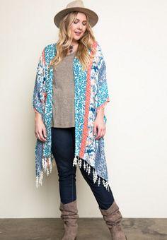 Plus Size Printed Kimono with Fringe Trim, , Outwear, vendor-unknown, Elohai Plus Size Boutique - 1