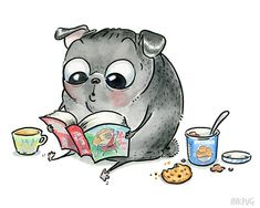 Me Time Black Pug Art print - R&R (Reading and Relaxation) Cute Pug Drawing with Ice Cream, Cookies and a Good Book for your Reading Nook