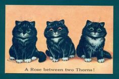 P2258-Louis-Wain-Cat-postcard-Three-black-kittens