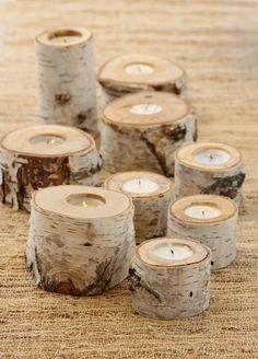 Birch Candle Holders - cute centerpiece idea