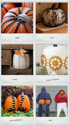More pumpkin ideas. Not your usual Jack-o-lantern. I always have tons of scrap material & ribbons from different projects. This way everything gets used.
