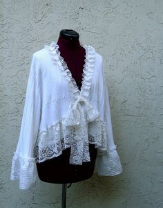 "Romantic Bohemian White Bolero Plus Size Gypsy Bridal by KheGreen, $110.00 - Even though the creator of this says ""Do Not Copy"", this can easily be made by getting pretty lace and sewing it onto a cardigan... Which I may just do!"