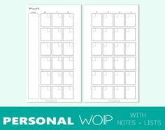 Personal size undated MONTH on TWO PAGES di TheLittlePlannerShop