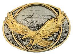 Montana Silversmiths Western Belt Buckle Soaring Eagle Gold 60791P  | eBay