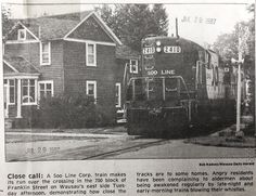 July 29, 1987 - Soo Line Corporation trains will no longer blow a whistle or horn overnight. A train passes by Franklin Street on Wausau's east side.