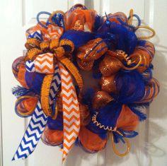 Auburn Tigers Deco Mesh Wreath, Orange & Blue AU Mesh Football Wreath