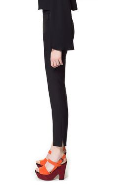Office pants: TROUSERS WITH SIDE SLIT