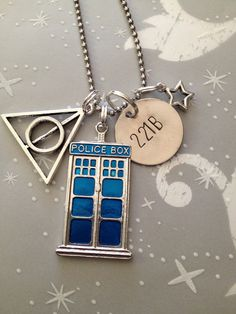 The Ultimate Fandom Necklace - Doctor Who, Sherlock, Harry Potter, Tardis, 221B, Deathly Hallows - it's just missing Star Trek or The Avengers