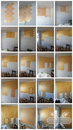 Gold Scallop Stenciled Accent Wall via Interiors by Kenz | Moroccan Scallops Stencil from Royal Design Studio