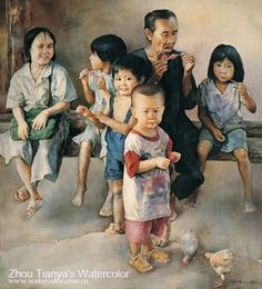 Transparent Watercolor on paper,100×90cm,In 2004,By Zhou Tianya,Private Collection in Hong Kong