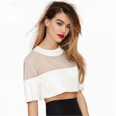 White Mesh Crop Top Super cute white mesh crop top, brand new size large but fits like a medium Tops Crop Tops