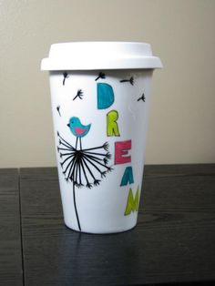 Painted Travel Coffee Mug Dream Birds Dandelions by PrettyMyDrink, $25.00
