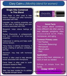 Order Now: www.MyDoterra.com/DoterraPlatinumOils Description ClaryCalm is a proprietary blend of essential oils that provides a soothing and calming effect during a woman's menstrual cycle. A topical blend of Clary Sage, Lavender, Bergamot, Roman Chamomile, Cedarwood, Ylang Ylang, Geranium, Fennel, Carrot Seed, Palmarosa, and Vitex, ClaryCalm provide a cooling effect to the skin and help balance emotions. Uses •During your menstrual cycle, apply to abdomen to experience a soothing and…