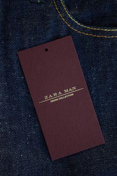 Fashion labels for Zara Man Denim Wear Tag Design, Label Design, Branding Design, Label Tag, Fabric Labels, Swing Tags, Zara Man, Professional Business Cards, Fashion Labels