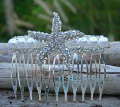 Starfish Sparkly Pearl Beach Wedding Bridal Hair Comb,Starfish Hair Accessory, Starfish Hair, Bridal, Nautical Wedding, Vegan Friendly on Etsy, $38.95