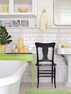 Warm up an all white bath with sunny yellow and bold lime green accents. See more ideas for small bathrooms: http://www.bhg.com/bathroom/small/solutions/?socsr=bhgpin041513yellowgreenaccents=21