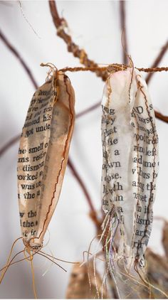 """Mixed Media Art - sculpture made from recycled book pages, thread, beeswax, wire, mull & cotton batting // """"Beginnings and Endings,"""" Lisa Kokin"""