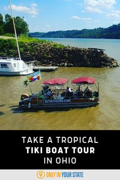 Take a unique, scenic, tropical-themed tiki boat tour along the Ohio River, starting in Cincinnati. A fun, family-friendly summer adventure, the private, party boat cruises are BYOB. Best Bucket List, Hidden Beach, Ohio River, Boat Tours, Summer Travel, Cruises, Cincinnati, State Parks, Tropical