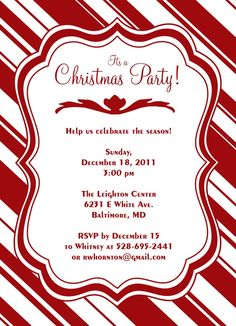 Candy Cane Christmas Party Invitation by JoDitt Available at: http://www.simplytoimpress.com/invitations/design-9669-prev-1