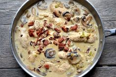 Creamy Dijon maple bacon chicken. This would be good over spaghetti squash or zucchini pasta.