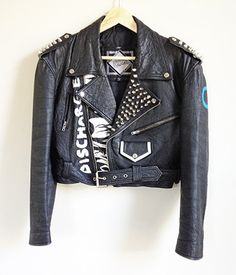 Vintage Punk Leather Jacket -- Hand Painted -- Studded -- Rare Vintage 80s Black Leather Jacket -- Punk Rock -- Womens Small / Medium by ImprovGoods on Etsy