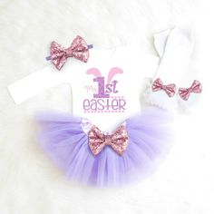 Baby Girl 1st Easter Outfit First Easter Outfit Girl My 1st Easter Baby Girl Clothes Newborn Easter Dress Pink Purple Tutu Easter Outfit E2 by KennedyClaireCouture on Etsy