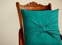 linen bow pillow in teal / 16 decorative by SassyStitchesbyLori