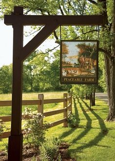 A sign marks the entrance to Peaceable Farm, in Solebury, Pennsylvania, whose historic buildings were designed by architect Richardson Brognard Okie in the 1930s.