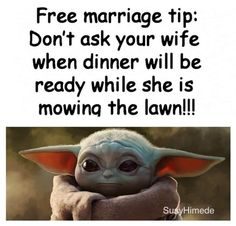 Clean Funny Jokes, Funny Jokes For Adults, Hilarious Stuff, Happy Marriage Tips, Marriage Humor, Yoda Quotes, Wisdom Quotes, Yoda Funny, Funny Commercials