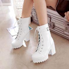 Black/white cosplay harajuku JK heels Martin boots AD0088