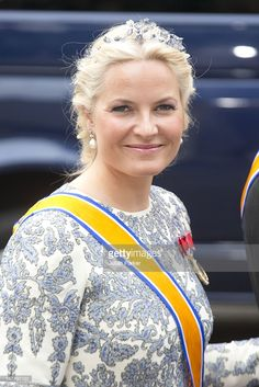 Crown Prince Haakon, and Crown Princess Mette-Marit of Norway arrive at the Nieuwe Kerk in Amsterdam for the inauguration ceremony of King Willem Alexander of the Netherlands, on April 30, 2013 in Amsterdam, Netherlands.